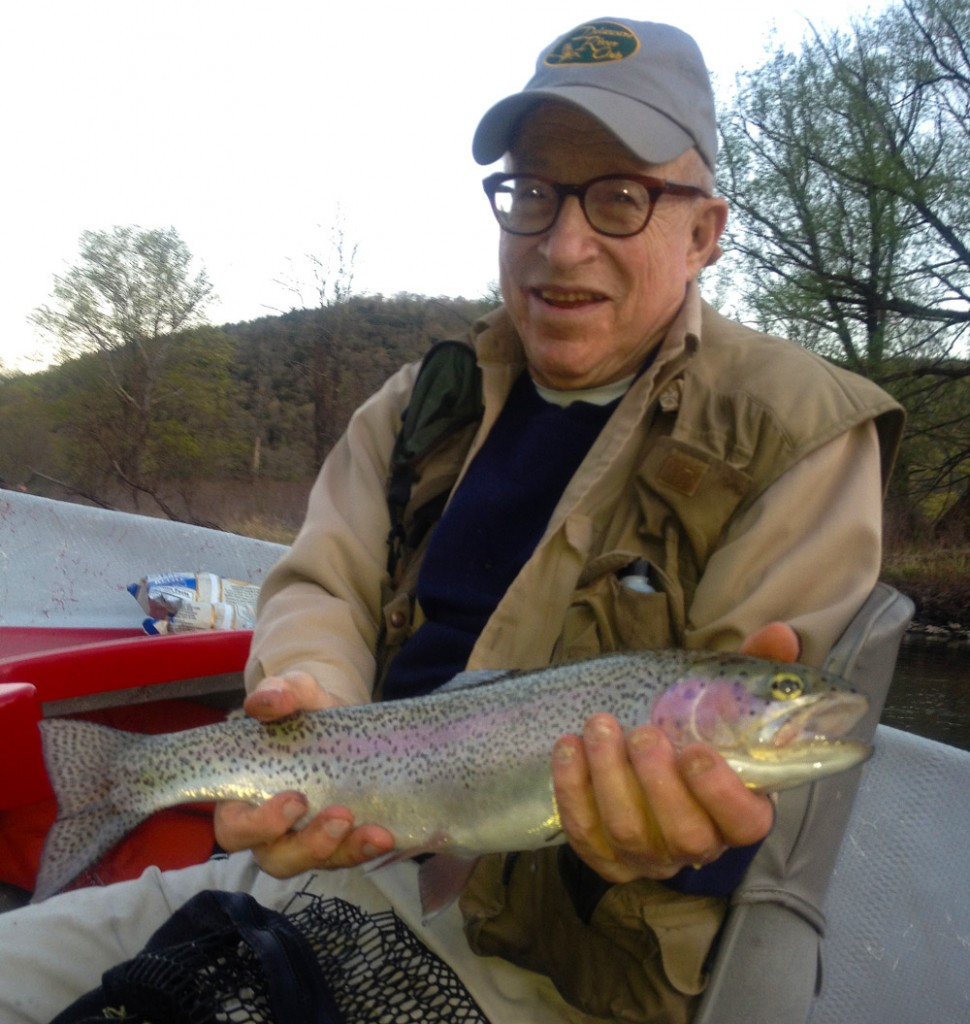 Sandy Bing with a great West Branch Rainbow. Photo: Steve Shen