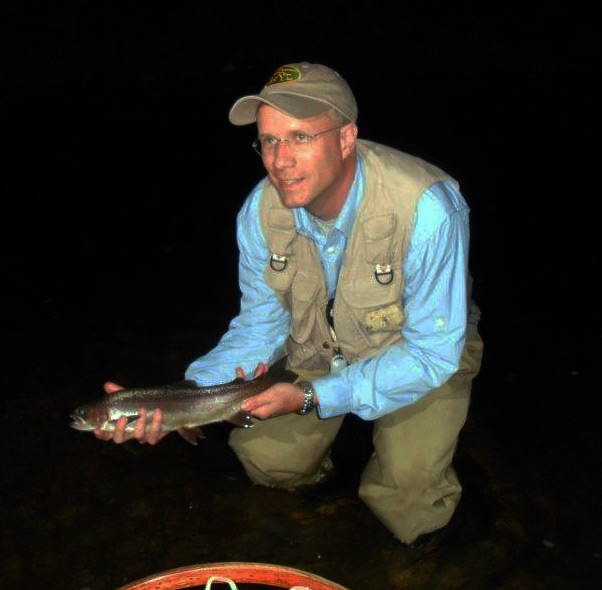 Dark-thirty pictures are tough, but not as tough as this big Rainbow Doug Ewing landed last night! Photo: Jeff White