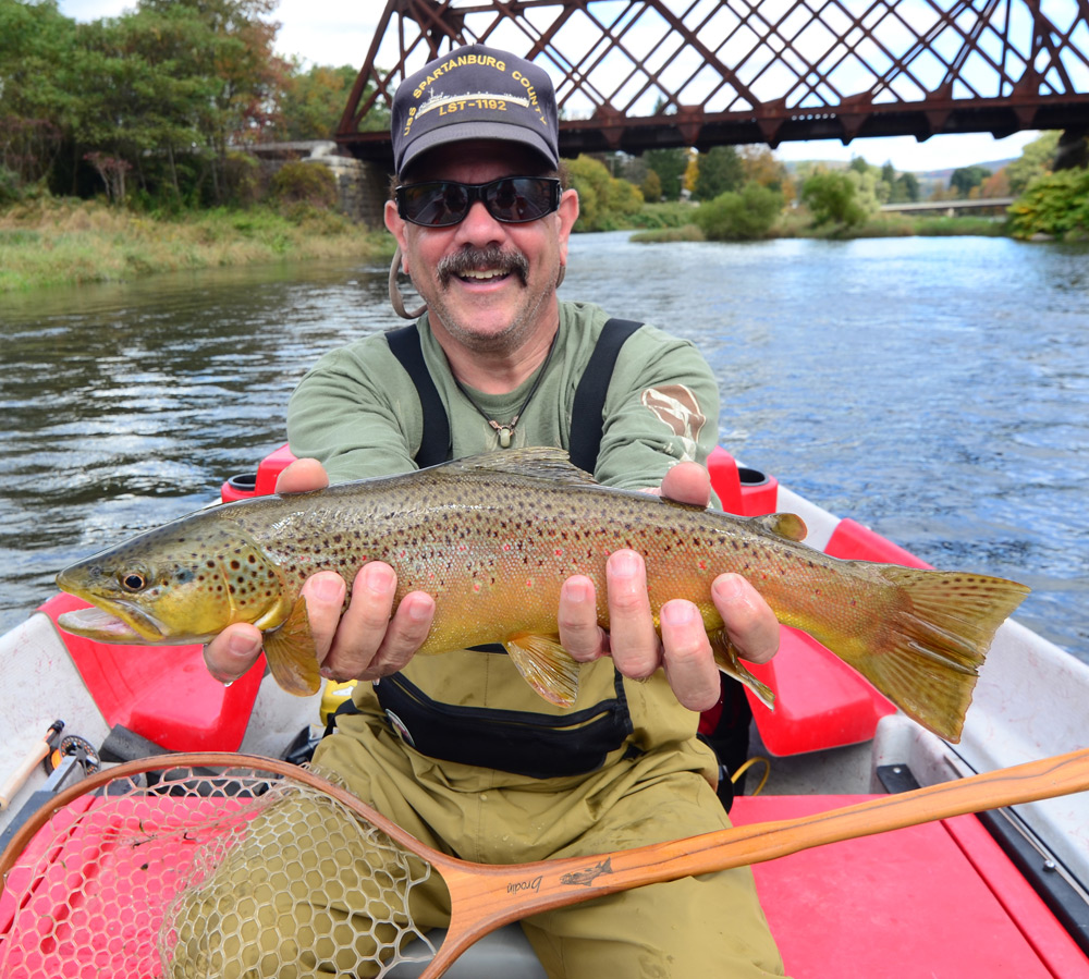 Chris Anderson with a beautiful West Branch Brown caught this past Sunday. Photo: Bob Lewis