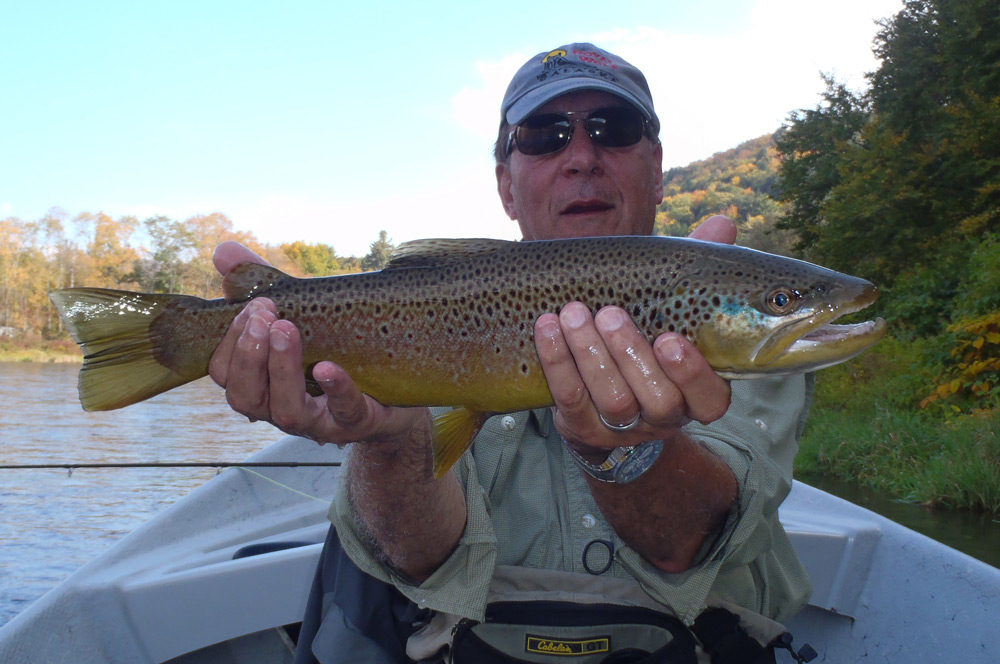 Mark Sheivachman with a NICE main stem brown taken yesterday before the thunder. Photo: Bruce Miller