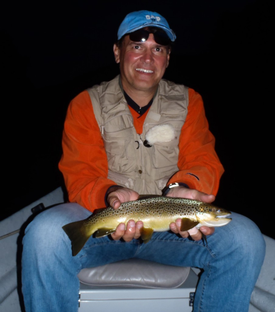 Tom took this nice Brown Trout yesterday evening while fishing with Bruce. Photo: Bruce Miller