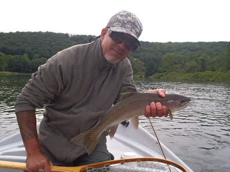 Dave Price with a nice West Branch rainbow yesterday- photo by Bruce Miller