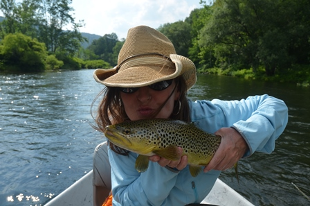 Christine holding a nice brown from Tuesday