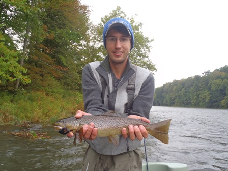 Jim with a streamer fish.  Some of the leaves are turning already