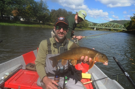 Jeff with an intersting catch on the West Branch- photo by Bob Lewis