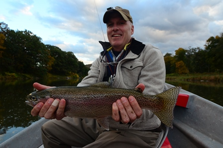 Greg with a healthy rainbow this week.  Photo by Bob Lewis