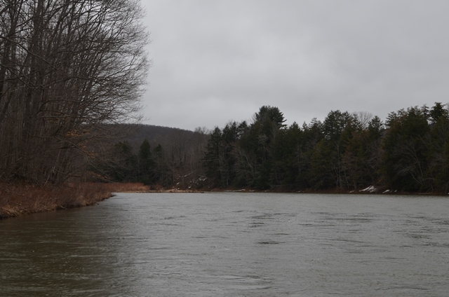 High water with a little snow still on the banks.  This weeks warmer temps should help