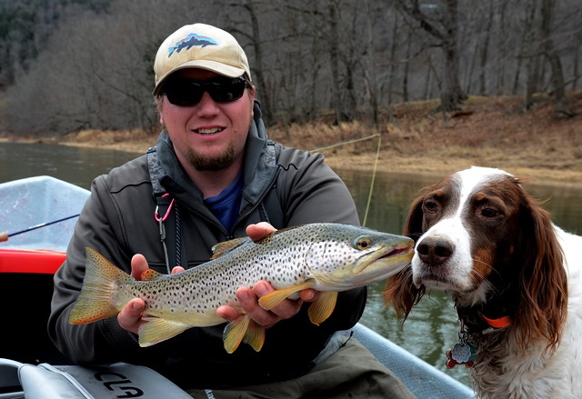 Kevan with a nice brown this week.  Molly finds it mildly interesting.  Bob Lewis photo