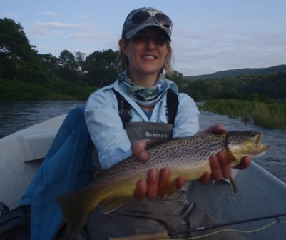 Beth with a nice fish yesterday.  Photo by Bruce Miller