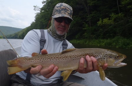 Dave with a nice streamer fish yesterday.  Photo by Bruce Miller
