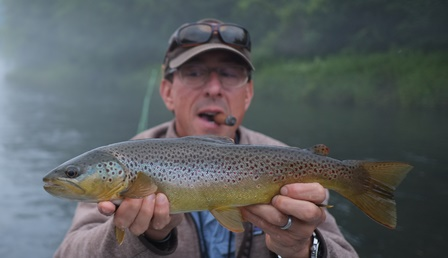 Geoff with a nice brown from the weekend.  Photo by Jared Makowski