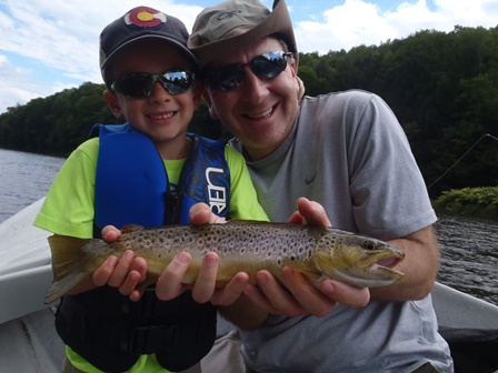 Mike and Nate with a nice brown!  Photo by Bruce Miller