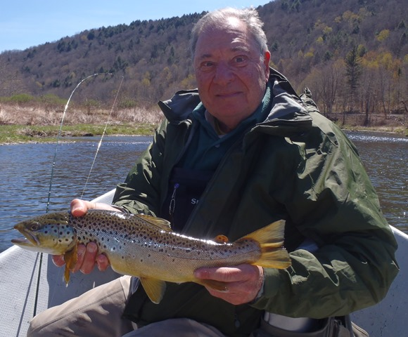 Leonard with a healthy brown yesterday.  Photo by Bruce Miller