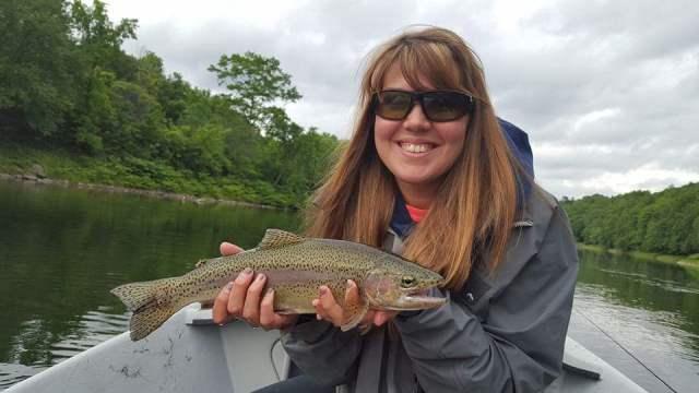 Tonya with a great Delaware rainbow.  Photo by Kevan Smaracko