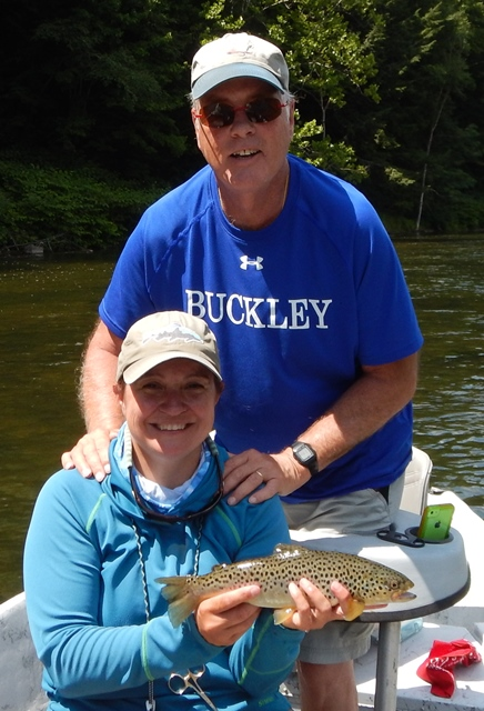 Tony and Samantha with a West Branch brown in the sunshine
