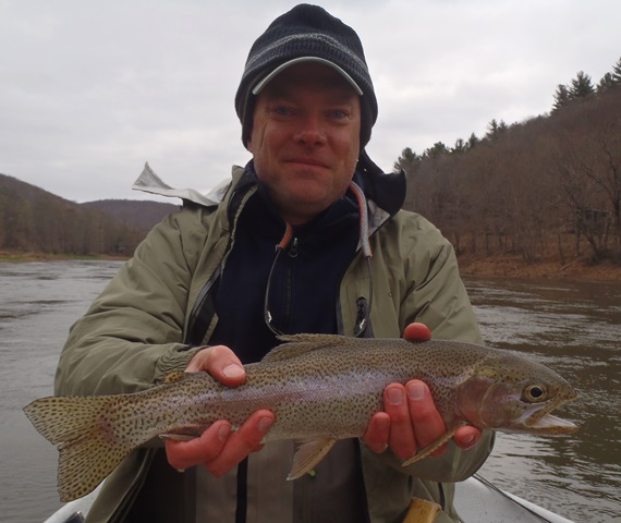 Tim with a dry fly caught rainbow yesterday.  Photo by Bruce Miller