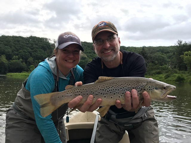 Jeff and Samantha with a nice brown yesterday afternoon.  Photo by Dave Price
