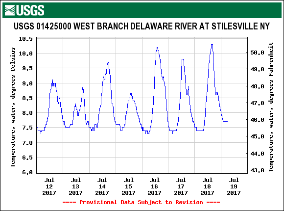 Water temperatures are great on the upper West Branch