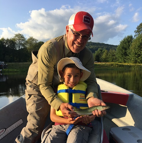 Theo and Bob with Theo's first fish!