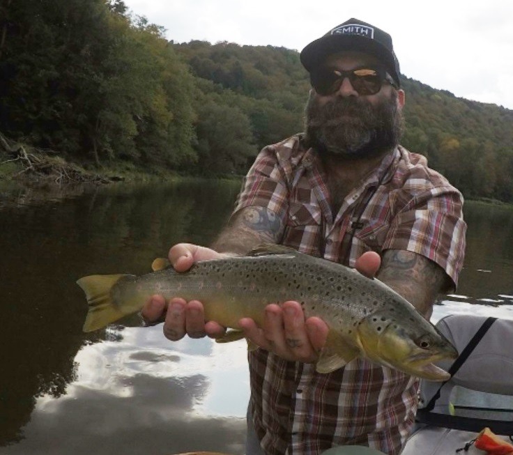 Chris with a nice brown over the weekend.  Photo by Jared Makowski