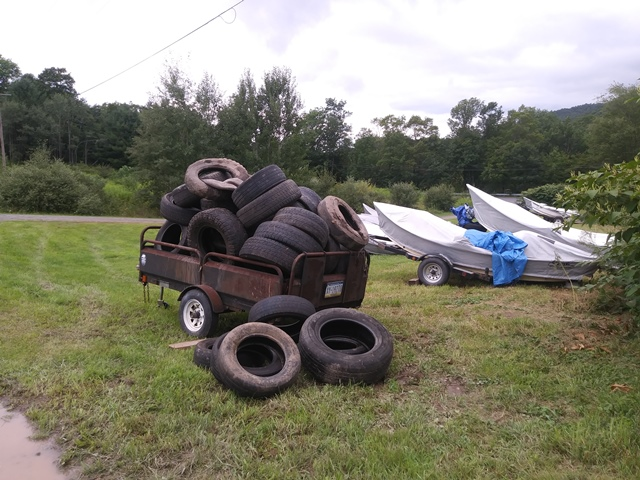 Despite the high water the Get Trahed crew got 55 tires and over a dumpster worth of trash out of the system yesterday!