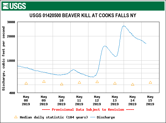 The Beaverkill flows are dropping quick- hopefully the rain is done