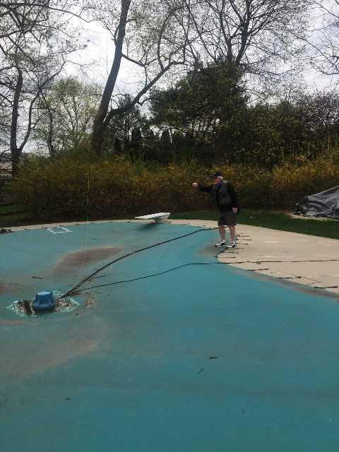 Pat Regan fishing the water closest to him