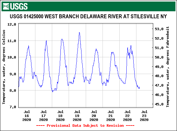Temps look great on the Upper West Branch