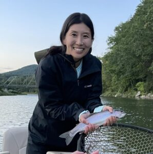 Jeanhee with her first Delaware trout.  Samantha Dennis photo