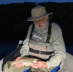 Jim found some fish eating olives at dark